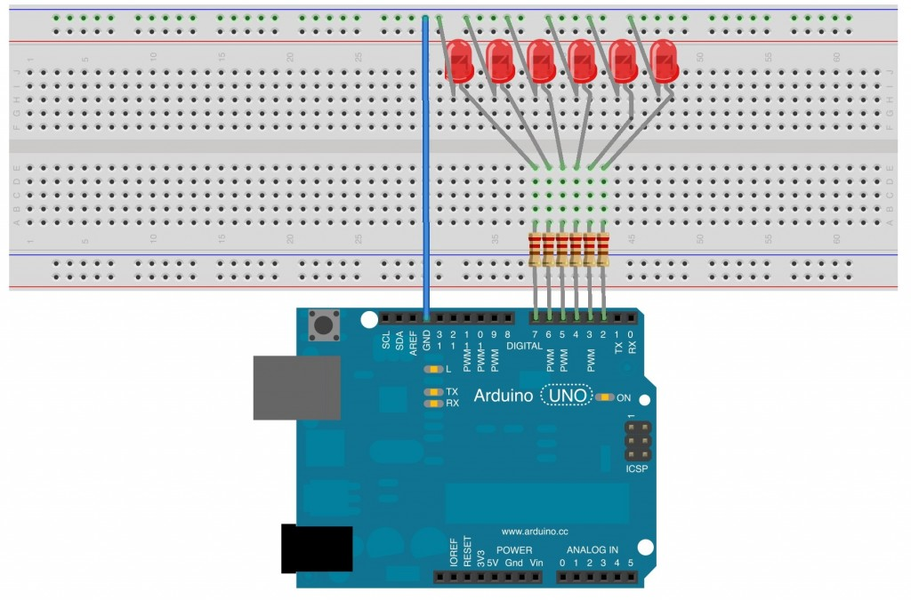 This is a breadboard schematic of 6 LEDs connected to Arduino digital pins 2 through 7.  Each LED is in series with a 220 ohm resistor. The setup is 220 Ohm resistor to long leg of the LED.  The short leg of the LED is then connected to the Arduino ground pin.  This circuit is meant to demonstrate using arrays with Arduino.