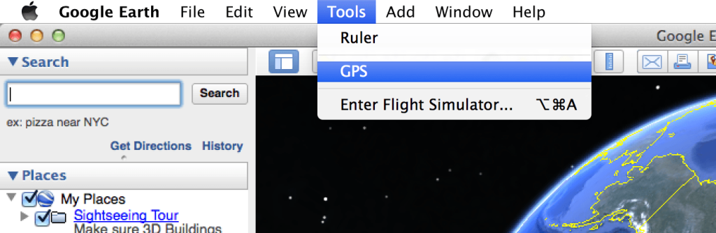 Using Google Earth to upload my Tiny Arduino GPS data via the Tools > GPS menu