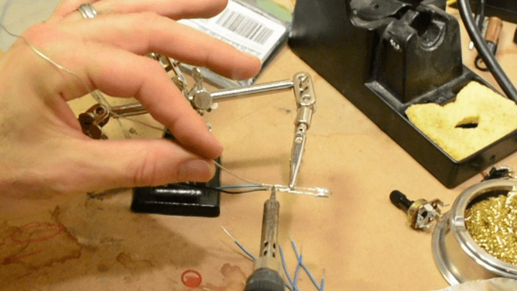 Soldering Hook Up Wire for the LED Stuffed Pumpkin Arduino Halloween Project