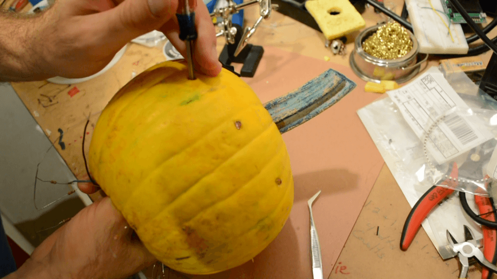 Stuffing Pumpkin With LEDs for the Halloween Arduino Project